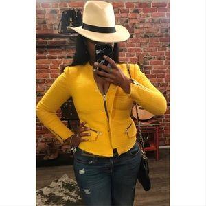 Zara woven fabric tweed mustard blazer jacket